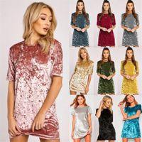 Wholesale loose velvet dress - Womens Crushed Velvet Casual T Shirt Loose Long Tops Mini dress Womens Blouse Dress Free Shipping 10 Colour CL183
