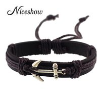 Wholesale Gold Anchor Wrap Bracelet - Black Brown Pu Leather Wristband with Antique Gold Silver Anchor Wrap Bracelets Bangle