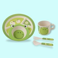Compra Set Bambini Piatto Piano-5Pcs Set Rana Stampe Baby Bamboo Dinner Set Eco-Friendly Kids Cartoon Set di piatti, Set di piatti per bambini, Set di bambine per bambini, Set per bambini