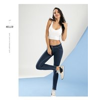 Wholesale Tight Jeans Thin - New 4-color jeans pants tights pants trousers skull is thin elastic stretch hip hip yoga sports pants