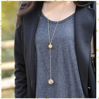 Wholesale Classic Crystal Necklace Hollow Ball - Hot Sale Classic Crystal Hollow Out Two Ball a Long Section of High Texture Flash Spher Gold Plated Long Chain Necklace