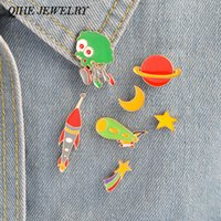 QIHE JOWELRY 8pcs / set Pins Broche Set Star Moon Rocket Alien Telescope Design Space Pin NASA Pin Vintage Geekery Gift