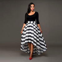Wholesale Cheap Women Skirt Sets - Trendy Women 2Piece Vintage Dress Sets Cheap Black Tee Top And Striped Dovetail Long Skirts Suits Casual Polyester Tracksuit