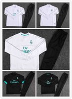 Wholesale Ronaldo T Shirts - 1718 Real Madrid football training service Cristiano Ronaldo and Borja Mayoral black and white T-shirts and hoodies suit soccer training l
