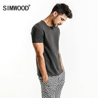 Wholesale V Sim - SIMWOOD Summer New T Shirts Men 100% Pure Cotton Vintage Patchwork Curl Sim Fit Casual Brand Clothing Fashion Tops TD1160 q170655