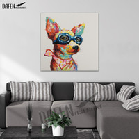 Wholesale Cute Oil Paintings - 100% Handmade Cute Chihuahua Dog Oil Painting on Canvas Modern Cartoon Animal Lovely Pet Paintings For Room Wall Decor