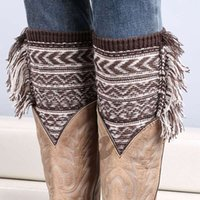 Wholesale Boot Covers Pattern - Wholesale- 2015 new Women Leg Warmer Girls knitting wool boots Christmas jacquard warm bohemian tassels Wave pattern foot cover 10pair lot