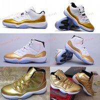 Wholesale Metallic Tables - Retro 11 White Metallic Gold Olympic Closing Ceremony Men Women Low Basketball Shoes 11s Athletics Sneakers Top High Quality US 5.5-13