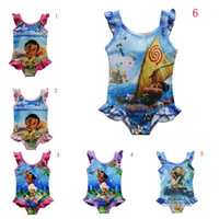 Wholesale Girl Swim Lace - 8 Style Girls moana 3~9years One-Pieces grenadine Lace Swimsuit 2017new models children cartoon moana sling baby cartoon swimming suit