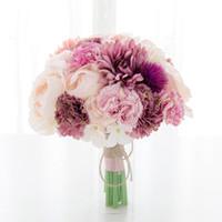 ingrosso fiori di cascata viola-Mazzi nuziali sbalorditivi Nuovo arrivo Meravigliosi fiori matrimonio Accessori Rosa Nuovi mazzi di arrivo Spedizione gratuita 20 * 25cm