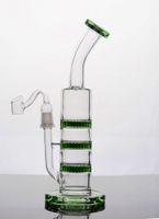 tres panales perc bong al por mayor-Mejor Verde Bongs Tres Panal de abanico Perc Reciclador Tubo de agua de cristal Panal de abeja Bong Barato Grueso Dab Rigs Envío Gratis
