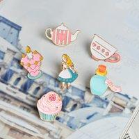 Wholesale Set Alice Wonderland - QIHE JEWELRY 14pcs set Alice in Wonderland Pin Brooch Palace Crown Teapot Cup Hat Enamel Badge Cute Girl Jewelry