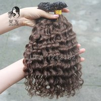 Wholesale Deep Wave Tip - Keratin U Tip Hair Extension 1g 1s Nail Tip Fusion Human Hair Extension #4 Dark Brown Pre bonded Deep Wave Virgin Hair