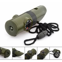 Wholesale Emergency Car Tool Flashlight - New 6 In 1 Military Survival Whistle Multi-function Emergency Life Saving Tool Camping Hiking Accessory flashlight with Compass