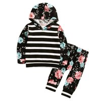 Wholesale Casual European Style Hoodie - Girls black floral hoodie outfits 2pc sets striped flower hoody+pants kids casual fashion hooded outfits for 1-5T
