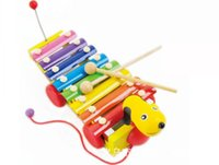Wholesale drum percussion instrument - Musical Instrument Toy Little Yellow Dog Trailer Music Toys Wooden Knock Drums Percussion For Children Kids Building Blocks xd H1