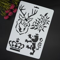 Wholesale Crown Spray Paint - Wholesale- Deer Lion Crown Masking Spray Stencil For Walls Painting Embossing Paper Crafts Scrapbook Stamp DIY Tools Photo Album Card