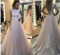 Wholesale Plus Size Pink Wedding Gowns - 2017 Summer Elegant Blush Pink Lace Appliqued Tulle Wedding Dress A Line With Lace-up Back Bridal Gown South Africa Plus Size Custom Made