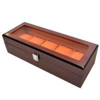 holzschmuck displays großhandel-5 Slot Uhrenbox Luxus Massivholz Uhrenbox Glasfenster Aufbewahrungskoffer Display Schmuck Geschenkbox für Uhren