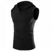 Wholesale sleeveless coats for men - Hoodies vest for men outdoor exercise fitness summer coat sleeveless sweater Sweatshirts men slim sweatshirt t shirt
