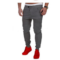 Wholesale Yellow Pants Casual For Men - Wholesale- Fitness sweatpants Winter Man Thick Trousers Drape Striped Casual Slim Pants for Male Brand New Hip hop Full Length Pants P30