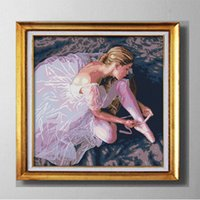 Ballerina girl beautiful dance, Gracious Style Cross Stitch Needlework Sets Embroidery kits pinturas contadas impressas em tela DMC 14CT / 11CT
