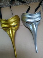 Wholesale Long Nose Half Masks - Long Nose Mask Joker Gothic Venetian Craft Mardi Gras Masqurade Venatian Mask One Size Fits Most Silver And Gold Black