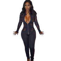 Wholesale Lace Open Bodysuit - Wholesale- Women Embroidery Lace Jumpsuit 2017 New Fashion Front Zipper Open Women Bodycon Bodysuit Sexy Deep V Long Sleeve Slim Jumpsuits