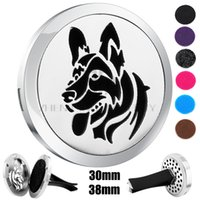Wholesale Dog Magnets - Silver Dog Design(30mm-38mm) Magnet Diffuser Car aromatherapy Locket Free Pads Essential Oil 316 Stainless Steel Car Diffuser Lockets