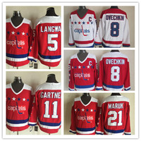 Wholesale Stitched NHL Washington Capitals LANGWAY OVECHKIN GARTNER White Red Throwback Hockey Jerseys Ice Jersey