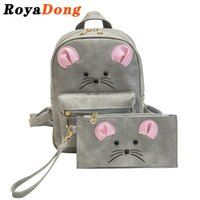Wholesale Mouse Backpack - Wholesale- RoyaDong 2017 PU Leather Small Backpack Set Women Cute Mouse Fashion Sweet Bag For Teenage Girls