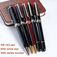 Wholesale High Quality Black Pen - MEISTERSTUCK 163 BALLPOINT   ROLLER BALL   FOUNTAIN PENS BLACK AND SIER  GOLDEN MB GEM GERMANY BRAND SERIAL NUMBER AAA+ HIGH QUALITY