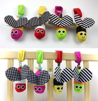 Wholesale Hanging Bee - Wholesale- Baby Plush Toys Cute Animal Bee Wind Bell Stroller Bed Hanging Early Educational Toys Rattles