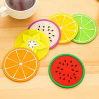 Wholesale Round Dining Table Pads - Cute Non-slip Fruit Placemat Cup Mat Pads Coffee Mug Drink Coasters Dining Table Placemats Desk Accessories