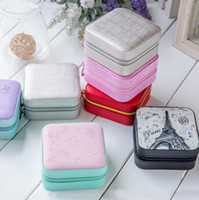 Wholesale Jewelry Organizer Rings - Portable Women Jewelry Box Travel Jewelry Organizer Case PU Leather Jewelry Ring Earring Necklace Storage Box Birthday Gift