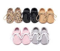 Wholesale Baby Leopard First Walking Shoes - Baby First Walkers Infant Lace-up Moccasins Walking Shoeses Leather Shoes Anti-slip Baby Shoes Leopard Dots Plaid Casual Shoes C2085