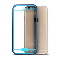 Barato Top Pára-choques Iphone-Estojo de pára-choque colorido para Iphone 7 6 6s Plus Capa traseira de TPU PC de alta qualidade Transparente Hybrid Shockproof Clear Case com OPPBAG