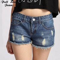 Wholesale Sexy Hotpants - Wholesale- Women Sexy Denim Ripped Mini Shorts Frayed Cuffs Salopette Short Femme Jean Plus Size Super Short Shorts Hotpants 5Xl Xxxl 6Xl