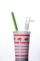 wasser pfeife honig tasse großhandel-Neueste Flüssige Honig Glas Bong Wasserpfeife Tasse Box Ölplattformen mit Glas domeless Wasserpfeifen Bongs Rohre 14 mm Gelenk