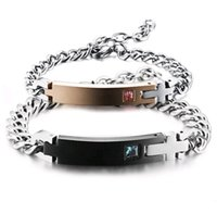 liebe kreuz armband großhandel-Hochwertigem Edelstahl Armband für Frauen Männer Zirkon Kreuz Wahre Liebesbrief Battern Romantischen Schmuck für Valentinstag Geschenk