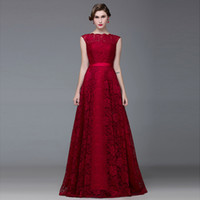 Wholesale Best Sale Charming Burgundy A Line Prom Dresses Lace Floor Length Sashes Sexy Backless Evening Dresses vestido de festa