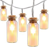 Wholesale Diy Wish Bottles - 7.2ft 2M with 20 LED Glass Jar Fairy String Lights Warm Cool White 3xAA Battery Operated Wishing Bottle strings for home decor