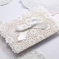 Wholesale white wedding invitation envelope resale online - Lace Wedding Invitations Elegant Embossed White Ribbon Butterfly Envelope Paper Printing Custom Wedding Invitation Cards cw5059