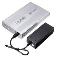 3,5 inç sabit disk için dava toptan satış-Toptan-3.5 inç Gümüş USB 2.0 SATA Harici HDD HD Sabit Sürücü Muhafaza Kutusu Güç Kablosu Adaptörü ile Kutu