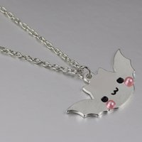 Wholesale Wholesale Kawaii Necklace - Wholesale- white pink mirror shiny bat halloween spooky kawaii pastel goth jewelry lolita fashion cute pendant necklace BM011