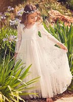 Wholesale Lace 5t Dress - 2017 Boho Lace Flower Girl Dresses For Summer Romantic Fancy Country Garden Weddings Kids Formal Wears Girls Birthday Dresses Evening Gowns