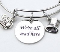 Wholesale Alice Wonderland Tea - 12pcs Alice in Wonderland We're All Mad Here Charm Bangle Silver Mad Hatter Hat Tea Pot Teacup Fables and Fairytale