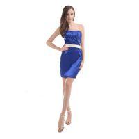 формальные синие пояса оптовых-С плеча синий коктейльные платья с поясом короткое платье пляж стиль скидка цена формальный дизайн