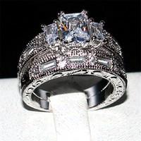 Wholesale princess cut cz engagement ring - wholesale 925 Sterling silver Three-stone Princess-cut CZ Diamond gemstone Rings Sets Jewelry Engagement Wedding rings for women SZ 5-10