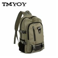 Wholesale vintage casual canvas backpack - Wholesale- TMYOY Vintage man women Backpack Army color medium size Design Travel Duffle Backpack Casual Canvas double shoulder bags AH510